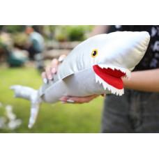 Мягкая игрушка серая Акула с зубами, 52 см