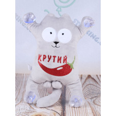 Игрушка кот Саймон, сувенирный кот на присосках с надписью, 30 см.
