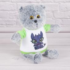 """Мягкая игрушка кот в футболке """"Как приручить дракона"""", Ночная фурия, Беззубик, плюшевый кот"""